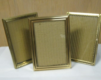 Vintage Gold Tone Picture Frames Set of Three Old Fashion Filigree Decorative 5 x 7 Glass and Stand Up Back Inserts Ready for Photos