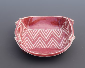 Handmade Decorative Ceramic Crimson Red Spoon Rest and Soap Dish Zig-Zag Textured Spoon Rest and Soap Dish