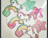 Customizable Unicorn Cupcake Toppers