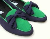 Green & Navy Blue Bow Tie Flats
