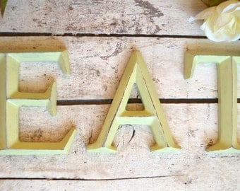 """4"""" Wall Letters EAT sign wall art decor vintage style Spring Apple Green"""