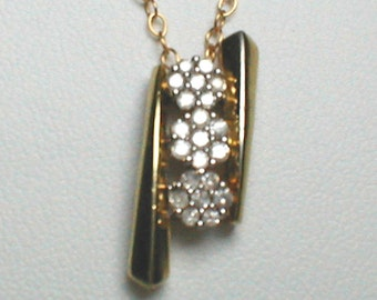 "Vintage 25"" Necklace with 10K Gold Plate over Sterling SIlver w/ Genuine Diamond Clusters"
