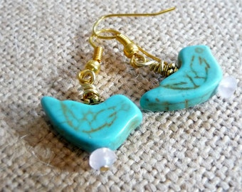 Small Turquoise Stone Blue Bird Earrings On Gold-Plated Ear Wires, Blue Bird Jewelry, Blue Earrings, Spring Jewelry, Nature Inspired, Birds