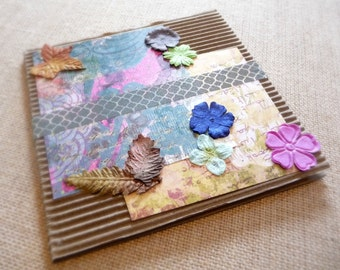 All-Occasion Floral Card, Rustic Corrugated Paper Card, Paper Flower Card, Botanical Greeting Card, Blank Greeting Card, Friendship Card