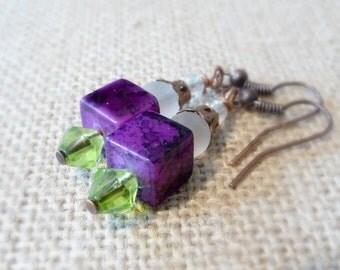 Purple Square Glass Bead Earrings, Copper Earrings, Small Dangle Earrings, Purple and Green Beads, Copper Jewelry, Glass Bead Jewelry