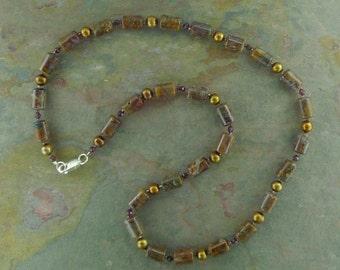 Pietersite & Fresh Water Pearl w/ Garnet Necklace w/ Sterling Silver Clasp