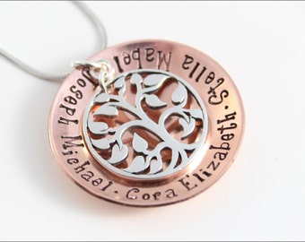 Personalized Copper Grandma Necklace | Sterling Silver Tree of Life Charm, Hand Stamped Jewelry, Grandma Jewelry, Mom Jewelry