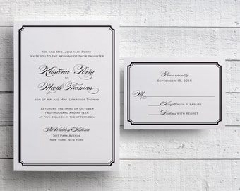 Simple Wedding Invitations Templates, Printable, Black and White Wedding Invitations, Simple Invitations, Black Tie Event, Traditional
