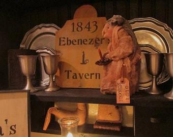 Ebenezer's Tavern~  Primitive Colonial Christmas Sign