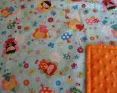 Soft Baby Blanket- Flannel/ Minky dot Fabric- Baby/Toddler Blanket