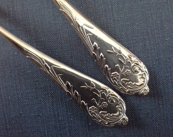 Two Anchor Rogers Silver Plated Teaspoons ' Columbus ' Pattern c1894