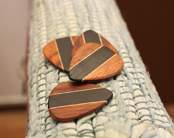 4 Wood guitar picks set Ebony, Mexican Granadillo & Maple hand made ukulele