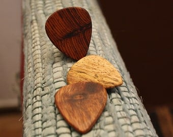 3 Wood guitar picks set Mexican Granadillo, Koa  & mango hand made ukulele