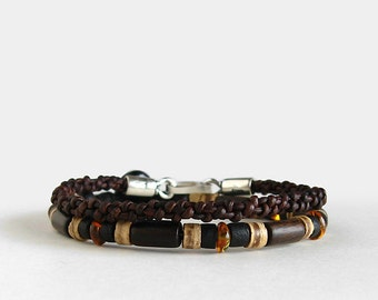 Mens beaded and leather bracelet set, black, brown, ebony wood and baltic amber, button clasp, sterling silver