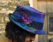 Handmade felt trilby magic hat 'Serendipity' - Hand dyed & felted wool - blue purple pink green - Custom Made to Measure ARtWeAR - fiber art