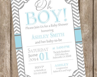 Oh Boy Baby Shower Invitation, baby blue and gray baby shower invitation, chevron invitation, blue and grey, chevron baby shower invite