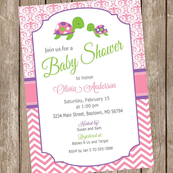 sea turtle baby shower invitation, girl sea turtle invitation, Baby shower invitations