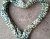 Handknit Scarf, Twisted and Garter Stitch ~ Acrylic ~ Shades Yellow, Cream, Brown, Green, Blue and Turquoise  - Thick, Fall and Winter Wear