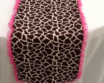Giraffe Print Table Runner with Pink Ruffle, READY to SHIP, Party, Baby Shower, Bridal Shower,  Zoo, Jungle, Safari, Travel