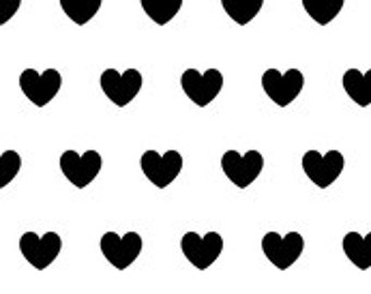 Fitted Crib Sheet- black hearts on white