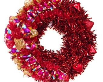 """Valentine's Day Wreath Tinsel with Red Hearts (Approx. 24"""" Round) Indoor or Outdoor"""