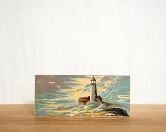 Paint by Number Art Block 'Sunset Lighthouse' - seascape, sunset, vintage marine art
