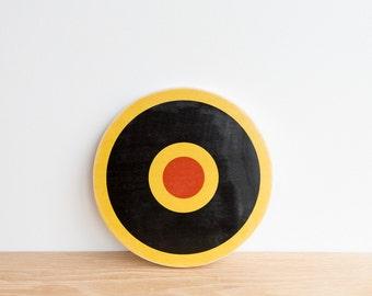 Target Circle Art Block - Yellow, Black, Red, archery target, bull's eye, rings, colorway #22