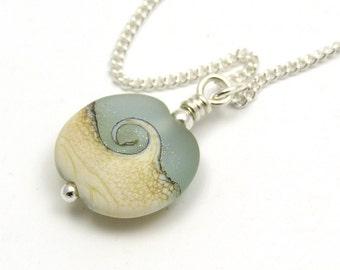 Ocean Wave Lampwork Bead and Sterling Silver Necklace, Lampwork Necklace, Bead Necklace, Lampwork Pendant