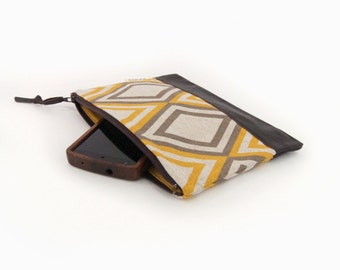 Geometric Color Block Zipper Pouch in Mustard Yellow, Taupe and Brown | Recycled Leather Accent | Small Clutch Bag, Coin Purse