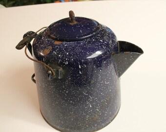 Enamelware, Coffee Pot, Blue, Large, Home Decor, Big, Home Decor
