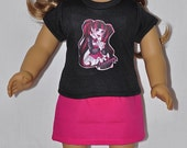 Black DracuLaura Top Pink Skirt and Black Hand Crocheted Hat and Flower Fits American Girl Doll