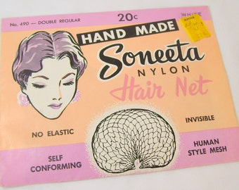 Vintage Soneeta Nylon Hair Net Hand Made No 490 Double Regular White In Original Package NOS