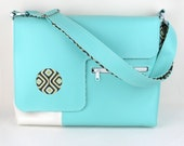 Vegan Laptop Bag in Turquoise and White, faux leather laptop bag