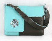Vegan Laptop Bag in Turquoise and Brown, faux leather laptop bag
