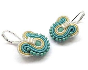 Blue and Yellow Earrings Small Drop Earrings Small Dangle Earrings Blue Drop Earrings Soutache Earrings Turquoise Earrings Blue Earrings
