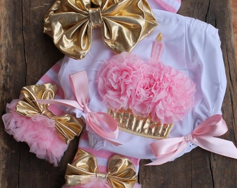 Cake Smash Set -  Birthday Bloomers - Bloomers, Leg Warmers and Bow - 1st Birthday Pictures - Gold and Pink Birthday