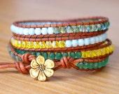 Bohemian beaded wrap bracelet, Genuine Leather, green, baby blue, yellow, hipster, wide, trendy jewelry, flower, gift idea
