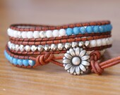 Bohemian beaded wrap bracelet, Genuine Leather, silver, blue, white, hipster, wide, trendy jewelry, flower bracelet, gift idea, Valentine