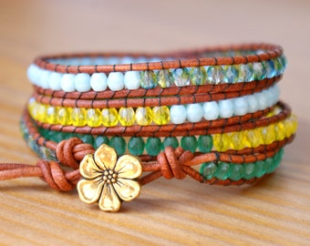 Bohemian beaded wrap bracelet, Genuine Leather, green, baby blue, yellow, hipster, wide, trendy jewelry, flower, gift idea