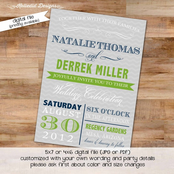 Couples Bridal Invitation I do BBQ engagement party stock the bar after party navy green gray chevron typography gay 363 Katiedid designs