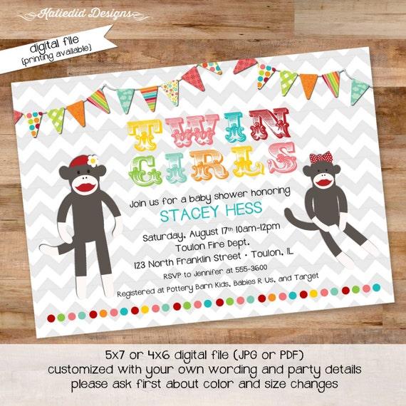 twin babies shower invitation little girl 1st birthday co-ed baby shower with love diaper wipe rainbow sock monkey gay 1520 Katiedid Designs