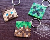 Minecraft-inspired Keychain- Fusible beads- Multiple characters