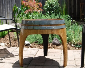 arched napa valley wine barrel end table with 3 legs upcycled wine barrel furniture french oak home decor wooden handcrafted wedding gift arched napa valley wine barrel table