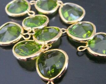 Jewelry Supplies, Gold Glass Stone Pendant, Apple Green Fancy Cut Stone Dangle Charm, 12.5 mm, 2 pc