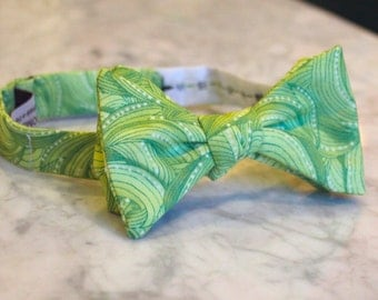Bright Green Waves Bow Tie - Groomsmen and wedding tie - clip on, pre-tied with strap or self tying