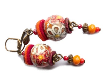 BOHO orange and red handmade earrings, unique flower mix on focal beads, dangle earrings, Mothers day jewelry, handmade polymer clay beads