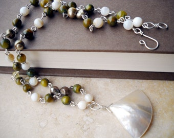 White & green shell necklace: Rest and Be Soothed; Kushiel's Dart, beach jewelry, mother of pearl, green necklace, summer necklace