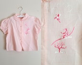 Vintage 1950s Girls' Blouse / Pink with Hunting Dog Embroidery / 6x