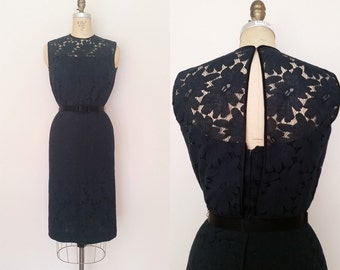 Parting Ways Dress / Vintage 1960s Black Dress / Moygashel Lace Cut Out / Small / LBD