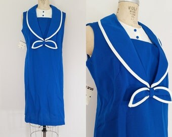 1960s Sailor Dress // LANDLUBBER DRESS // Vintage 60s Knit Royal Blue Dress // With Tags // XL